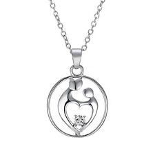 "Cute ""Mother & Child"" Lovely Silver Pendant Necklace Love Locket Mom's Gift"