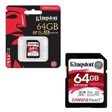 64GB Kingston Canvas React SDXC SD Memory Card Class 10 UHS-I U3 100MB/s 64GB