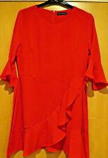 Ruffled Skater Dress, Red