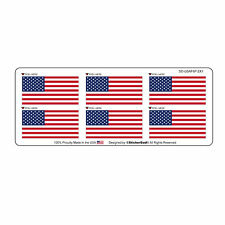 """USA American Flags (6 Pack) Hard Hat Printed Sticker (size: 2"""" x 1"""")"""