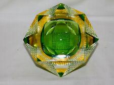 Murano Schale DIAMANT - Effekt 12 - flächig 1960er Jahre Hellgrün Gelb Klar