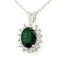 1.80 CTW Emerald & Diamond Pendant 18K White Gold - REF-38N2A - 13580 Lot 7128