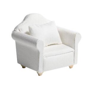 1/12 Scale Wooden Sofa Armchair Dollhouse Miniatures Furniture w/ Cushion