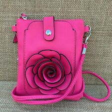 Hot Pink Rose Small Bag with Smart Phone Spectacle Holder Long Cross Body Strap