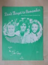 VINTAGE SHEET MUSIC - DON'T FORGET TO REMEMBER - THE BEE GEES - 1969