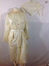 Women's Vintage Vinyl Raincoat Matching Belt Head Cover Scarf Kerchief Off White