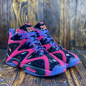 Reebok Kamikaze 1 Punch Pink/Black/Purple Mid Basketball Shoe Men Size 7/Women 9