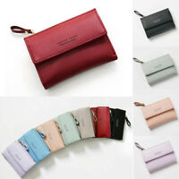 Women's Short Small Wallet PU Leather Folding Coin Card Holder Money Purse