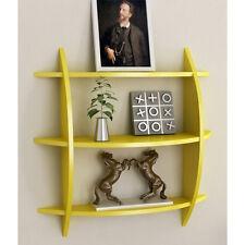 Onlineshoppee Beautiful Yellow 3 Tier Wooden Wall Shelves/Rack