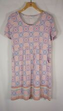 J Jill Short Sleeve Knit Dress Medium Pockets  geometric mandala