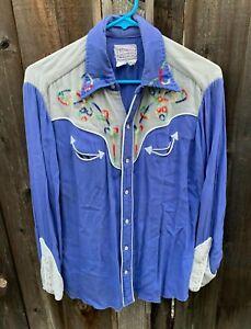 VTG 1950s H Bar C Ranchwear Embroidered Rayon Gabardine Western Rockabilly Shirt