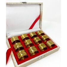 Vintage Set of 12 Round Brass Napkin Rings Original Box