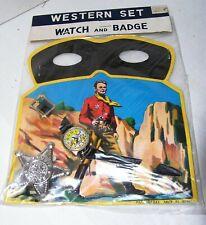Western Set 1950's Japan Cowboy Watch & Deputy Sheriff Badge & Black Mask #52619