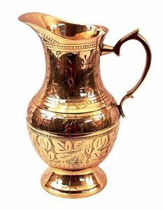 Mughlai Style Brass Jug Pitcher Drinkware Embossed handmade Design 1050 ML
