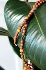 Ayahuasca Hemp Necklace, with Bronze Leaf and Wooden Beads, Banisteriopsis Caapi