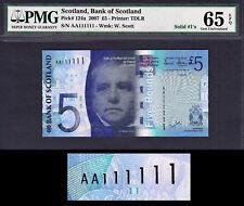 Bank of Scotland 2007 £5 FIRST Prefix Solid Serial AA 111111 GEM UNC PMG 65 EPQ