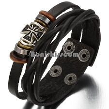 Mens Womens Brown Leather Friendship Bead Celtic Cross Charm Bangle Bracelet
