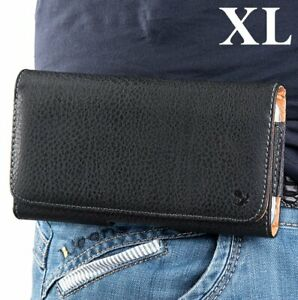 For X-Large LG Phones - Black PU Leather Holster Pouch Belt Clip Horizontal Case