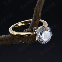2 CT Diamond Round Cut 14k Yellow Gold Finish Six Claw Solitaire Engagement Ring