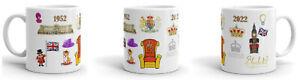Queen Elizabeth II Platinum Jubilee 70 Years Fun Tea Coffee Cup Mug 11oz