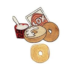 ID 1237AB Set of 2 Bagel & Cream Cheese Food Embroidered Iron On Applique Patch