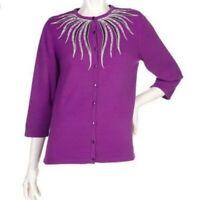 Bob Mackie Wearable Art Purple 3/4 Sleeve Sequin Cardigan Sweater Size XL