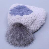 Real rex rabbit fur hat women winter knitted beanies cap Silver Fox fur pom poms