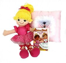 BALLERINA RAG DOLL Pink with Ballet Cushion & Sticker Book FREE SHIPPING