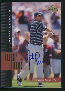 2001 Upper Deck Golf PGA #186 Justin Leonard Signed Autograph Auto