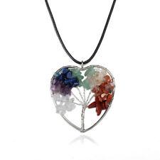 Tree of Life Heart Shaped Pendants Necklaces Spiritual Chakra Heal Stone Crystal