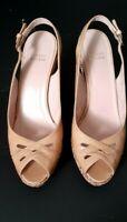 Stuart Weitzman Women's Tan Espadrille Platform Wedge Sandal Size 9.5