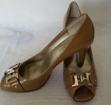 Anne Klein Ladies Leather Dark Beige Brown Peep Toe Occasion Shoe 9M UK 7 EU 40