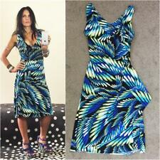 TEABERRY 8 10 TROPICAL faux WRAP PLUNGE DRESS sexy slinky BUY3+ITEMS= FREE POST