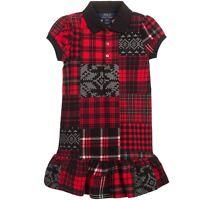 New Polo Ralph Lauren Red Cotton Patchwork Tartan Polo Shirt Dress 3/3T 4/4T 6Y
