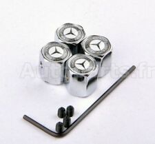 KIT 4 Bouchon de valve Antivol -  MERCEDES BENZ - INOX - TUNING - INSIGNE LOGO -
