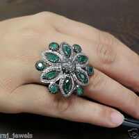 Emerald Gemstone 925 Sterling Silver Cocktail Ring Diamond Pave Handmade Jewelry