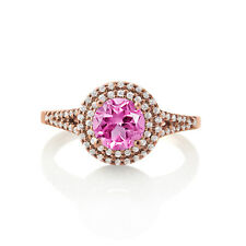 WOMEN'S ROUND CUT PINK SAPPHIRE 14K ROSE GOLD FINISH HALO STYLISH PROMISE RING