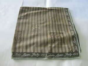 "USED BROWN GEOMETRIC PATTERN COTTON 17"" POCKET SQUARE HANDKERCHIEF HANKY FOR MEN"