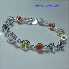 Farbenfrohes Silber plattiertiertes Armband, kl.Würfel, Armkette