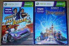 XBox 360 KINECT Game Lot - Disneyland Adventures (New) Kinect Joy Ride (New)