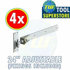 "4PK 24"" Adjustable Hook Band Hinges - Heavy Duty Gate Hinge + Galvanised Finish"