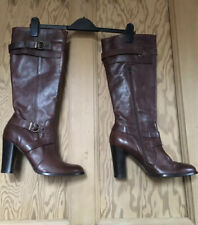 "GANT Brown Leather Knee High Boots with Buckles 4"" Heel Size 41 UK 7.5 Ex Cond"