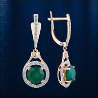 Russian solid rose gold 585/14k dangle halo green onyx, CZ  earrings Beautiful!