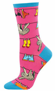 NEW Womens Fun Novelty Socks Sloths Hanging on Clothesline Pink - Sock Size 9-11