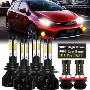 9005+9006+H11 White LED Headlight 4-Side Fog Light Kit High Low Beam Bulb Yellow