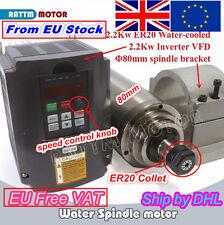 「UK」2200W 220V ER20 Spindle Motor Water Cooled & 2.2Kw Inverter & 80mm Clamp CNC