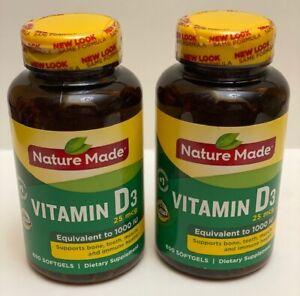 2 Nature Made Vitamin D3 Dietary Supplement 25 mcg 650 Softgels Per Bottle