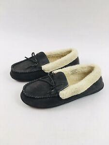 New Clark's Womens Suede Gray Slippers with Tie, faux fur lining Size 10 M