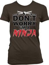 Dont Worry Im A Ninja Ying Yang Crossed Katanas Nerd Geek Humor Juniors T-shirt