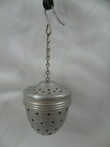 Vintage 1960's Metal Tea Infuser Steeper Ball With Chain And Hook